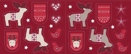 Lewis & Irene When I Met Santa's Reindeer - 4773 -  Cut Me Out Reindeer Panel on Dark Red - C6.3 - Cotton Fabric